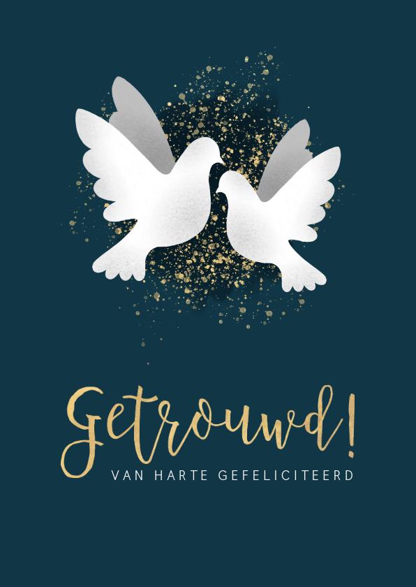 Felicitatiekaarten - Felicitatiekaart voor huwelijk met witte duiven en spetters