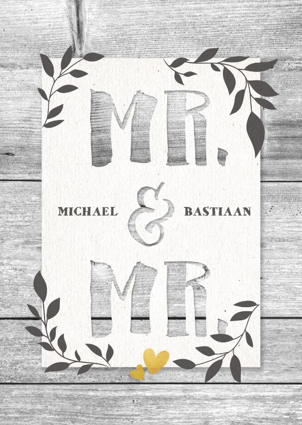 Felicitatiekaarten - Felicitatiekaart voor huwelijk Mr. & Mr. hout en plantjes