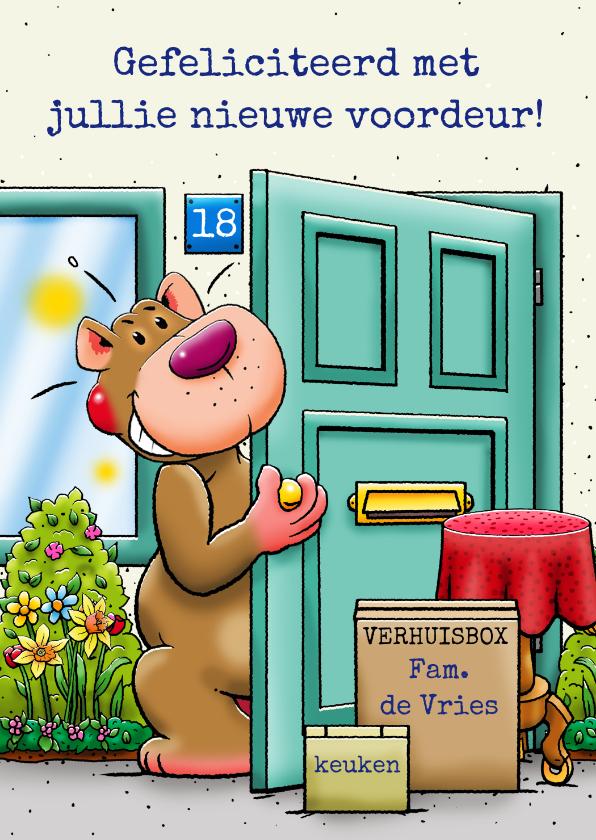 Felicitatiekaarten - Felicitatiekaart voor iemand die een nieuwe voordeur krijgt