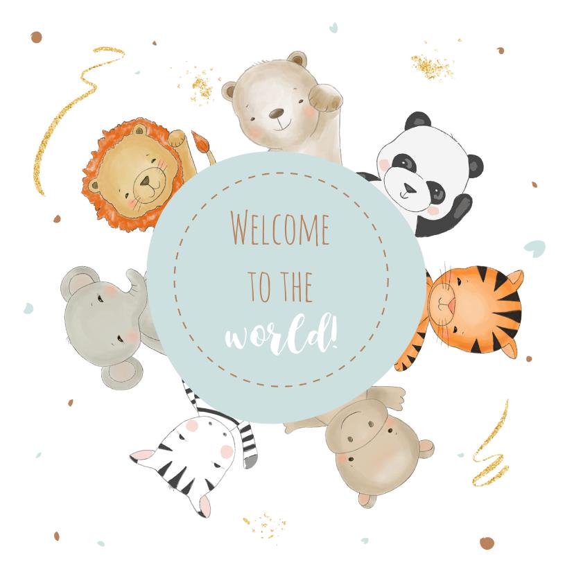 Felicitatiekaarten - Felicitatiekaart vrolijke diertjes om een mintgroene ronding