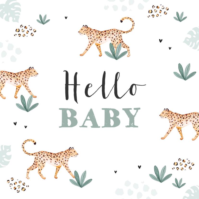 Felicitatiekaarten - Felicitatiekaart welkom baby luipaard jungle dieren