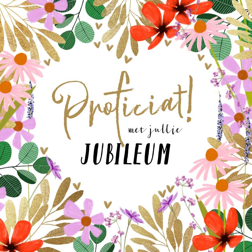 Felicitatiekaarten - Felicitatiekaart zomerbloemen en goud huwelijksjubileum