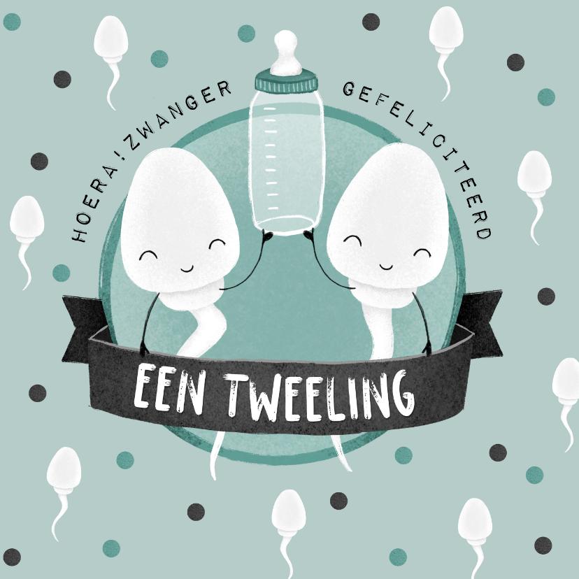 Felicitatiekaarten - Felicitatiekaart zwanger tweeling humor zaadcellen confetti