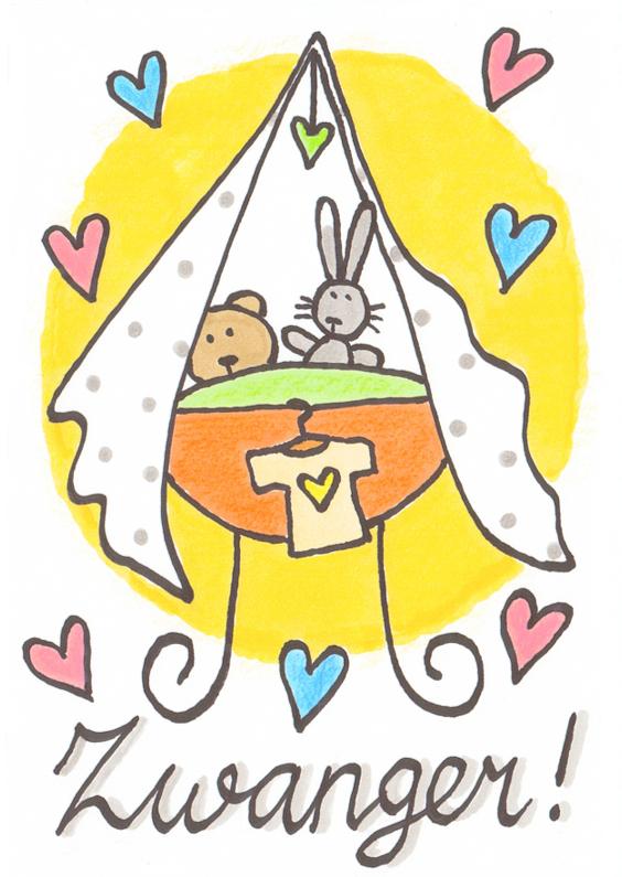 Felicitatiekaarten - felicitatiekaart, zwanger wieg