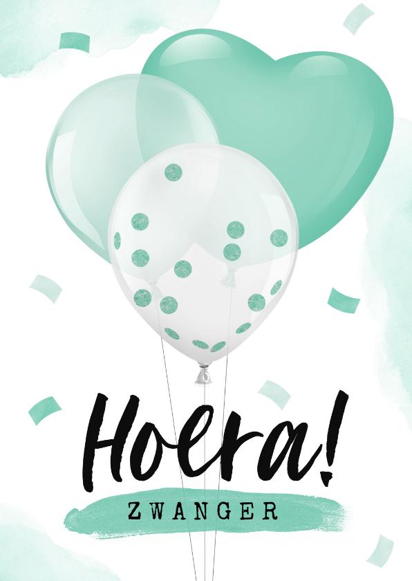 Felicitatiekaarten - Felicitatiekaart zwangerschap baby ballonnen confetti
