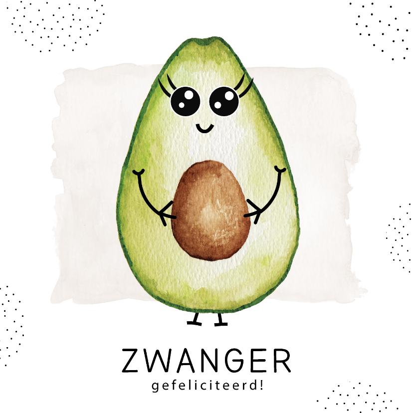 Felicitatiekaarten - Felicitatiekaart zwangerschap met zwangere avocado