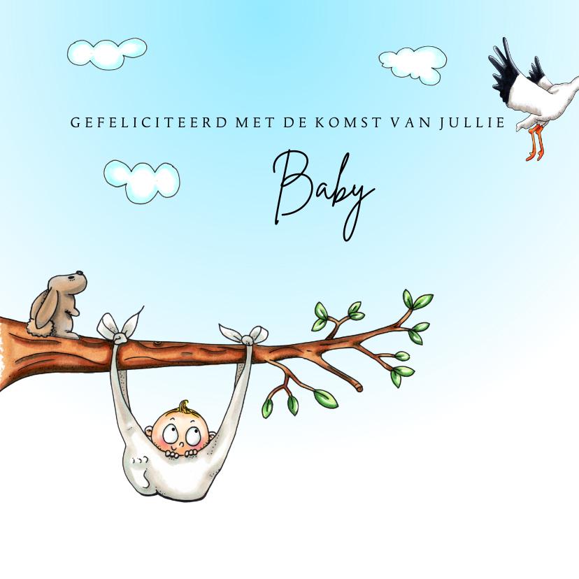 Felicitatiekaarten - Felicitatiekaarten baby in luier aan boomtak
