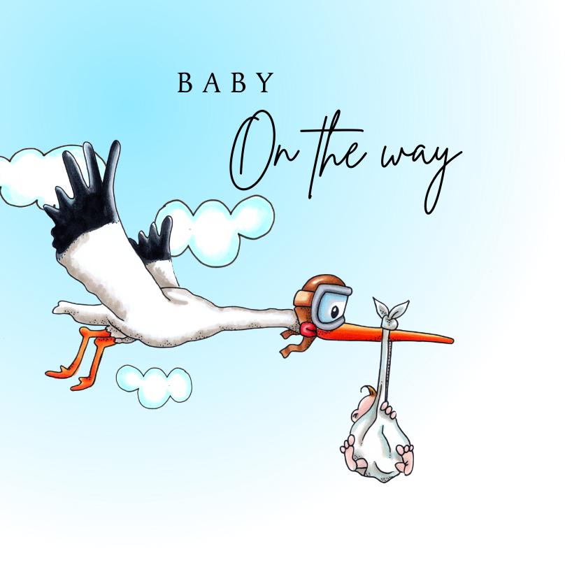 Felicitatiekaarten - Felicitatiekaarten vliegende ooievaar