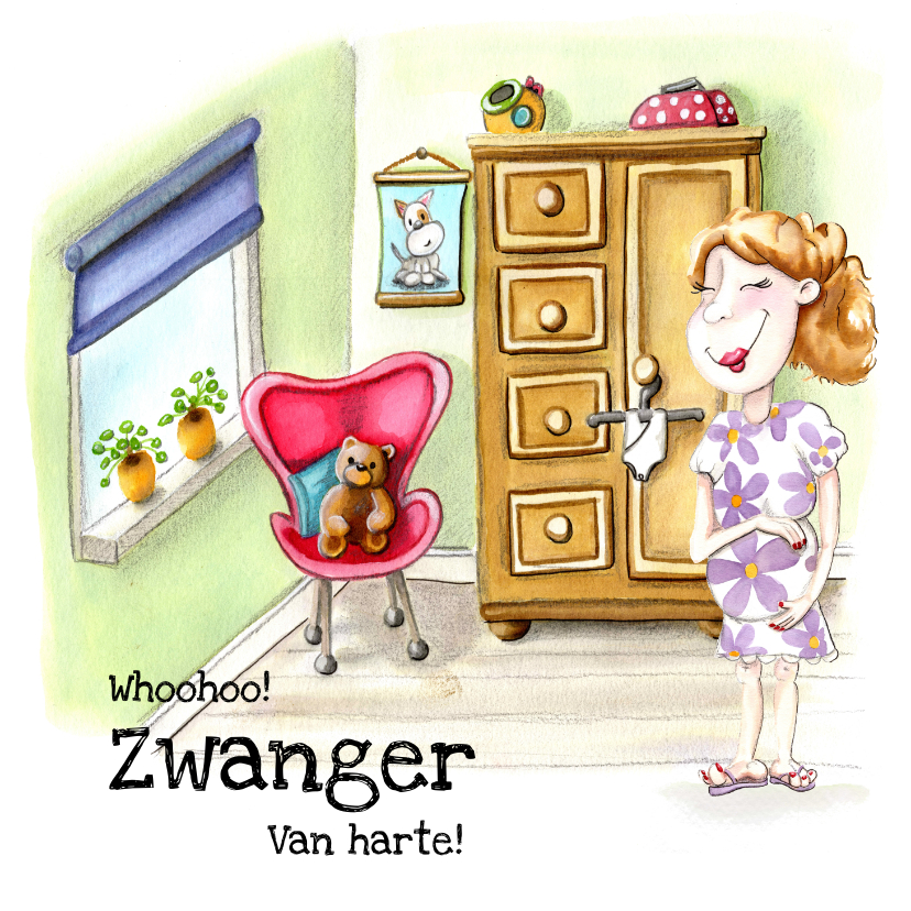 Felicitatiekaarten - Felicitatiekaarten Zwangerschap illustratie in babykamer