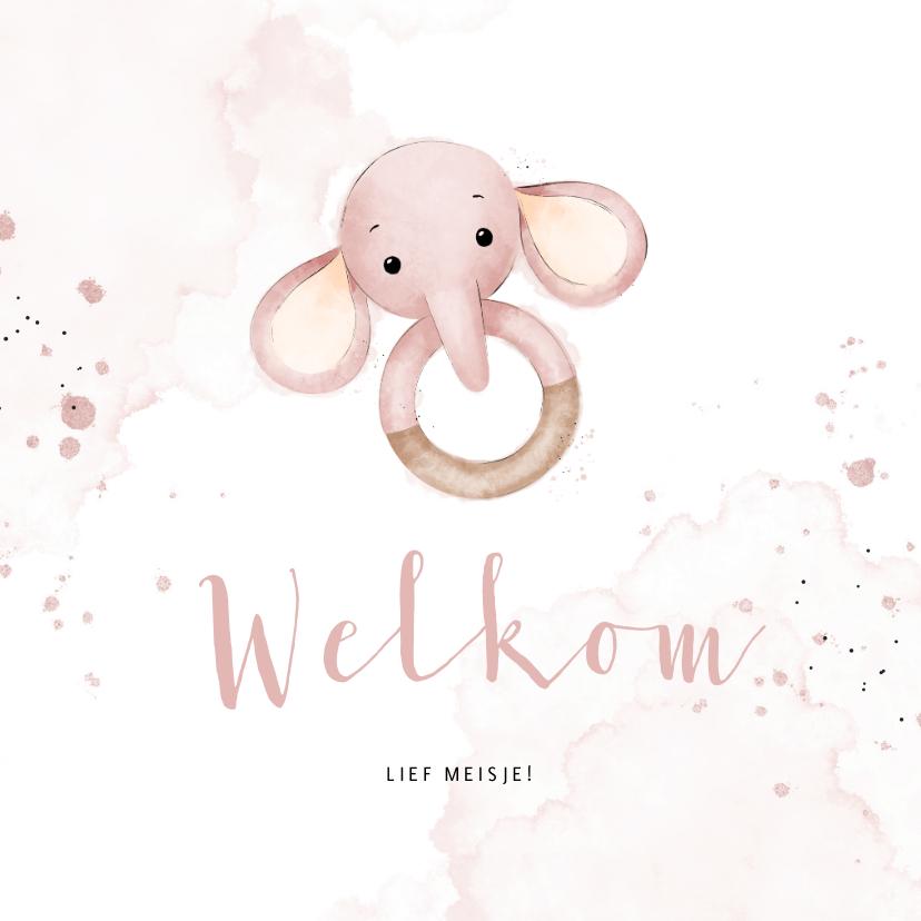 Felicitatiekaarten - Felicitatiekaartje bijtring met lief roze olifantje