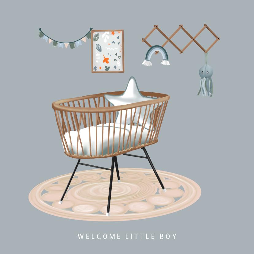 Felicitatiekaarten - Felicitatiekaartje eigentijds met babykamer geboorte baby