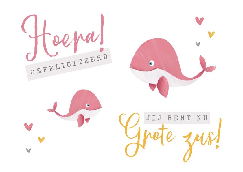 Felicitatiekaarten - Felicitatiekaartje geboorte meisje zusje walvisjes hartjes