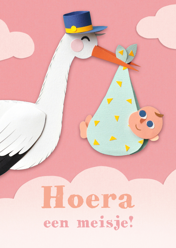 Felicitatiekaarten - Felicitatiekaartje met ooievaar en baby meisje