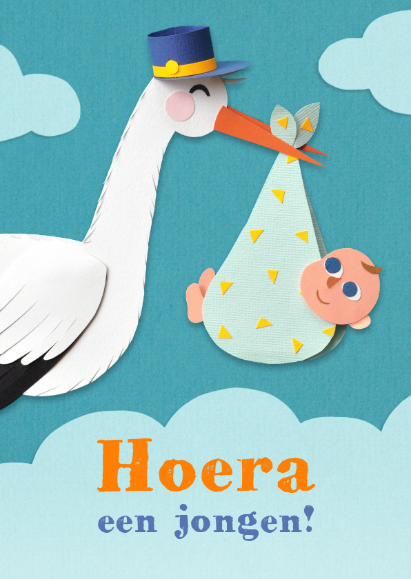 Felicitatiekaarten - Felicitatiekaartje met ooievaar en baby