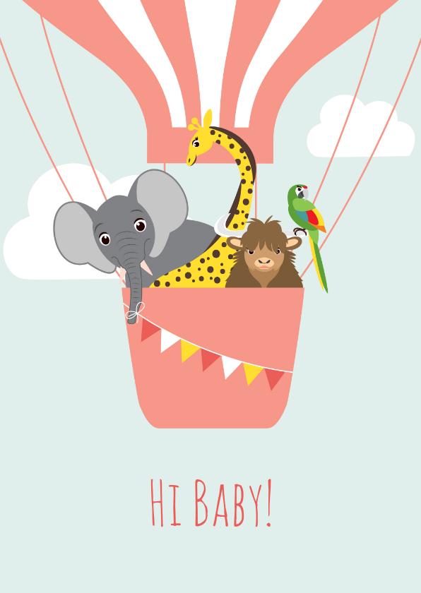 Felicitatiekaarten - Felicitatiekaartje met vrolijke dieren in een luchtballon