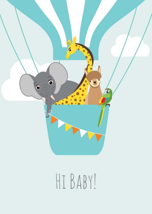 Felicitatiekaarten - Felicitatiekaartje met vrolijke diertjes in een luchtballon