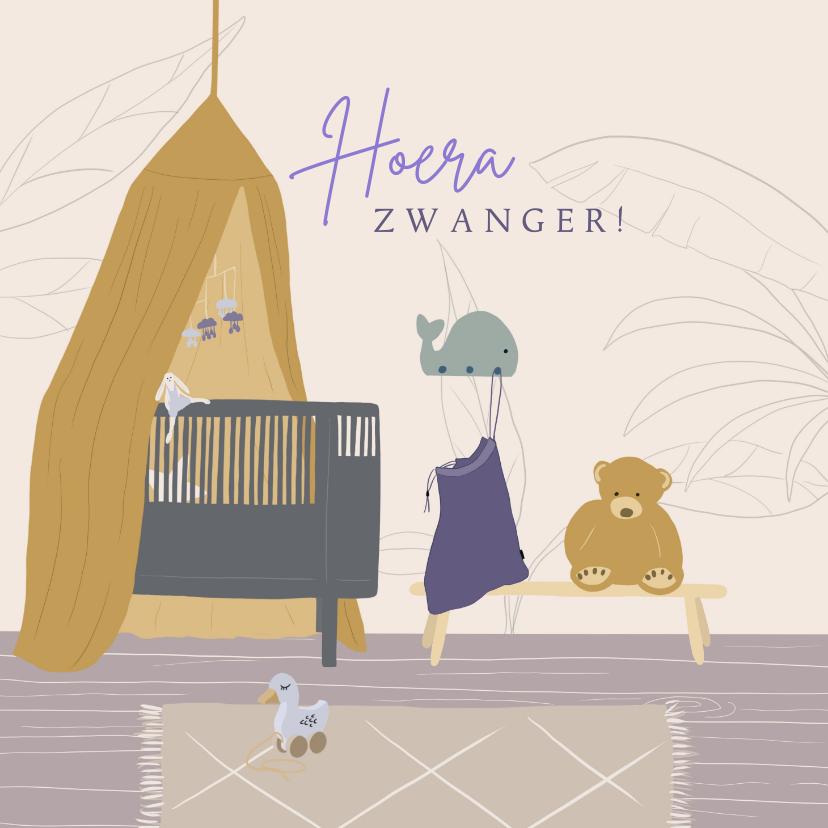 Felicitatiekaarten - Felicitatiekaartje zwanger babykamer