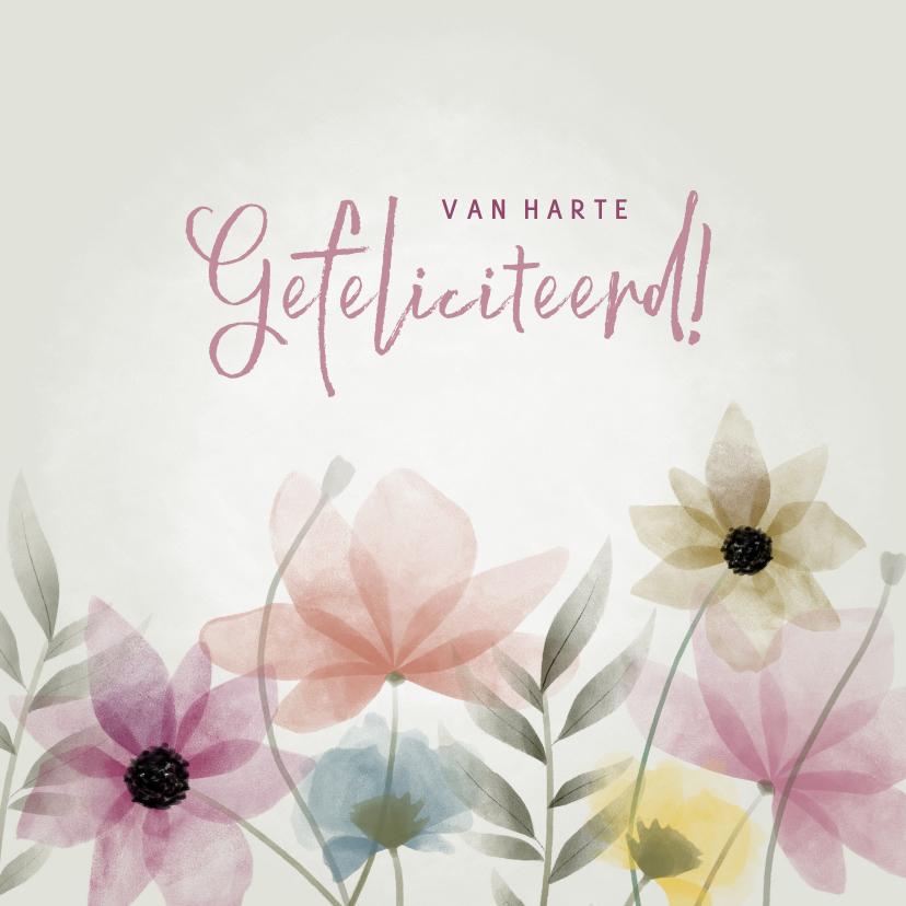 Felicitatiekaarten - Fleurige felicitatiekaart met bloemen