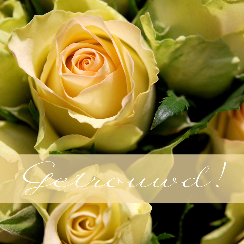 Felicitatiekaarten - Fotokaart rozen getrouwd