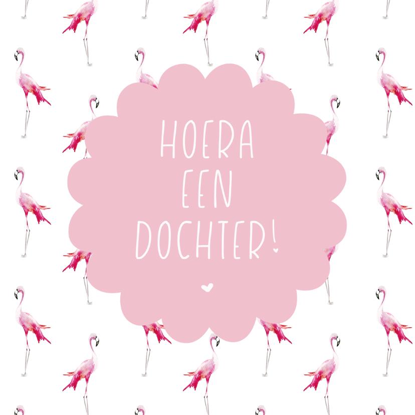 Felicitatiekaarten - geboorte dochter flamingo roze