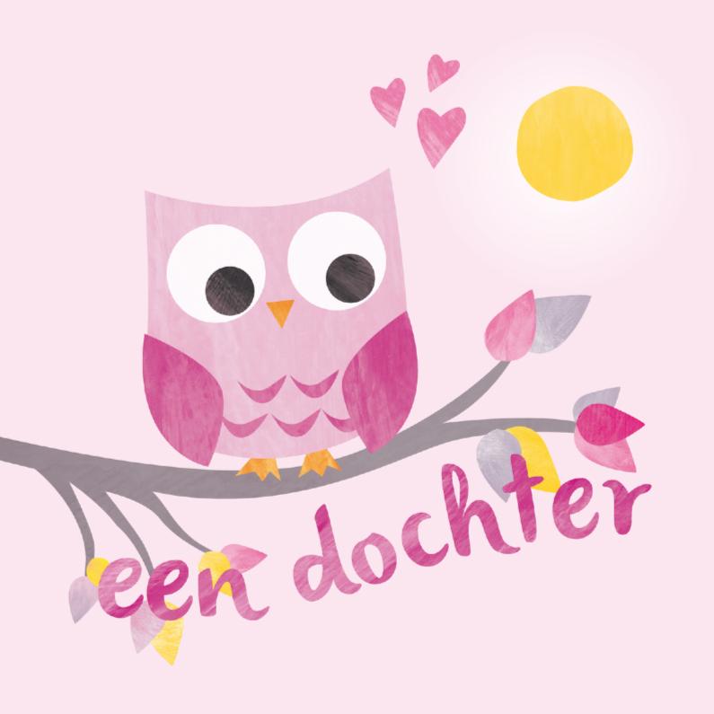 Felicitatiekaarten - Geboorte dochter - roze uiltje