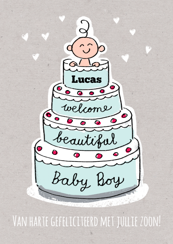 Felicitatiekaarten - Geboorte felicitatie kaart met jongen in een blauwe taart
