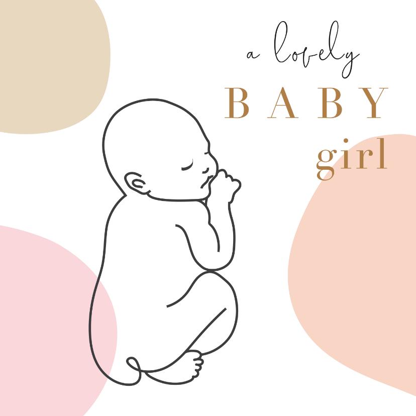 Felicitatiekaarten - Geboorte felicitatie kaart met lijntekening van baby