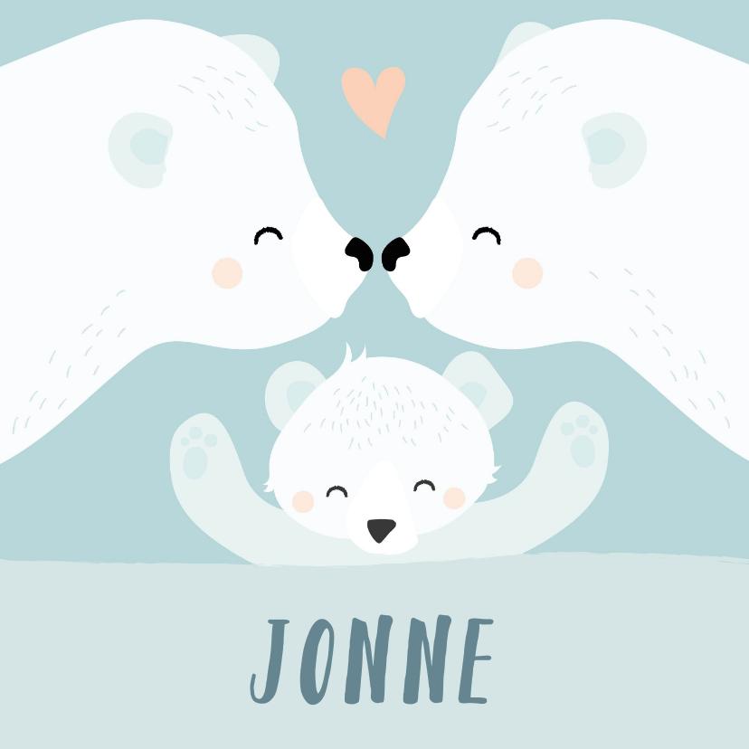 Felicitatiekaarten - Geboorte felicitatie kaartje met getekende ijsberen