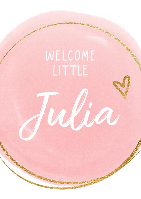 Felicitatiekaarten - Geboorte felicitatiekaart roze dot en cirkel
