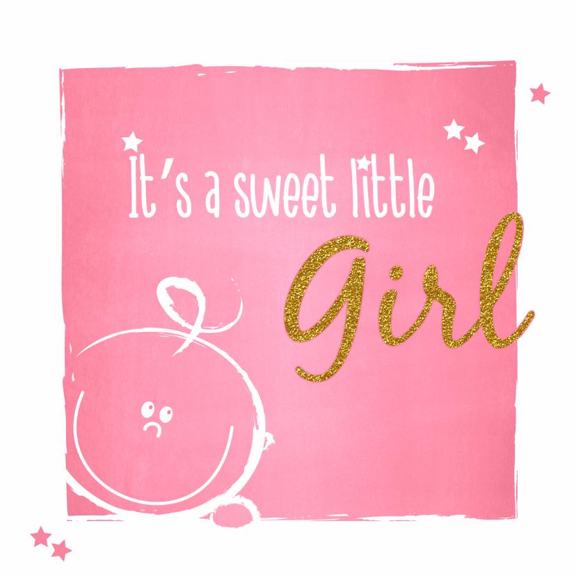 Felicitatiekaarten - Geboorte Lief roze baby kaartje