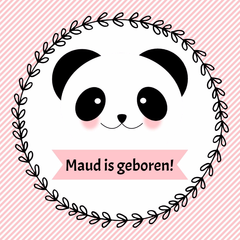 """Felicitatiekaarten - Geboorte meisje """"Panda""""- WW"""