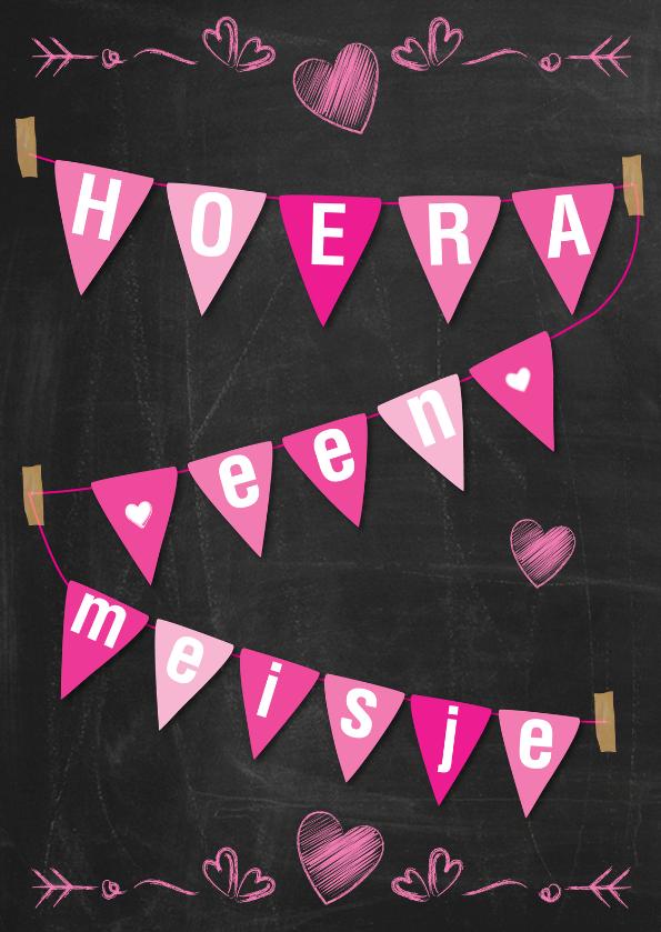 Felicitatiekaarten - Geboorte meisje schoolbord-ByF