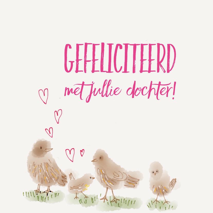 Felicitatiekaarten - Geboorte Meisje Vier Vogeltjes