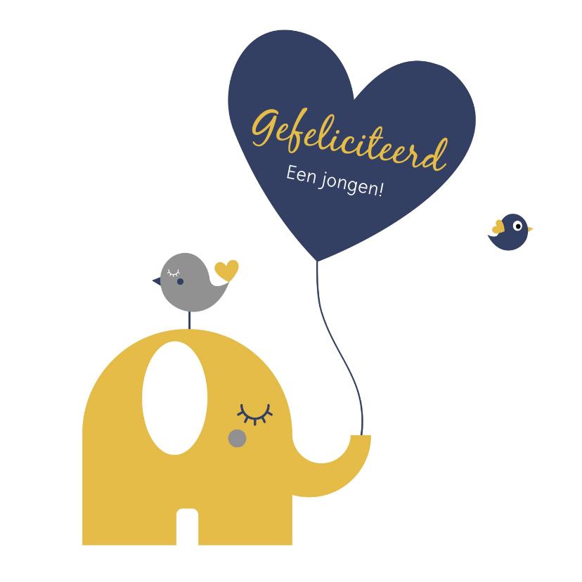 Felicitatiekaarten - Geboorte - Olifantje met hartjes ballon