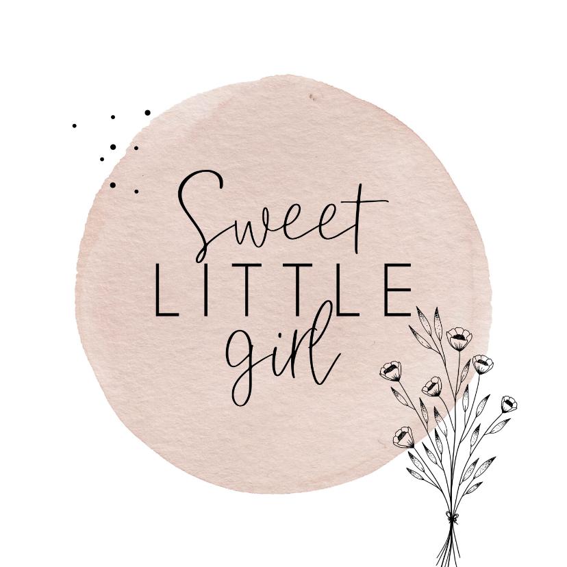 Felicitatiekaarten - Geboorte Sweet little girl simplistisch en lief