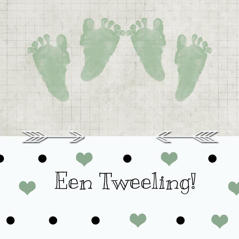 Felicitatiekaarten - Geboorte tweeling stip