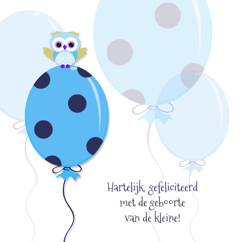 Felicitatiekaarten - Geboorte vieren,  blauwe ballon
