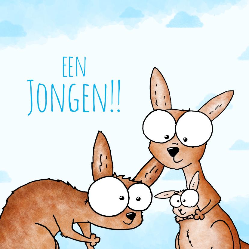 Felicitatiekaarten - Geboortefelicitatie jongen - Kangoeroes met kleintje
