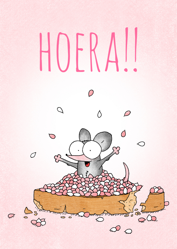 Felicitatiekaarten - Geboortefelicitatie meisje met beschuit met muisjes roze