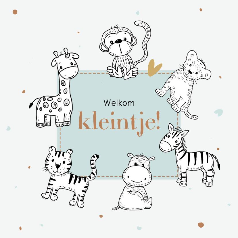 Felicitatiekaarten - Geboortekaartje met safari dieren in zwart wit