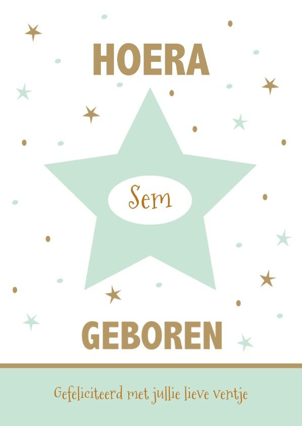 Felicitatiekaarten - Geboortekaartje sterren met eigen naam