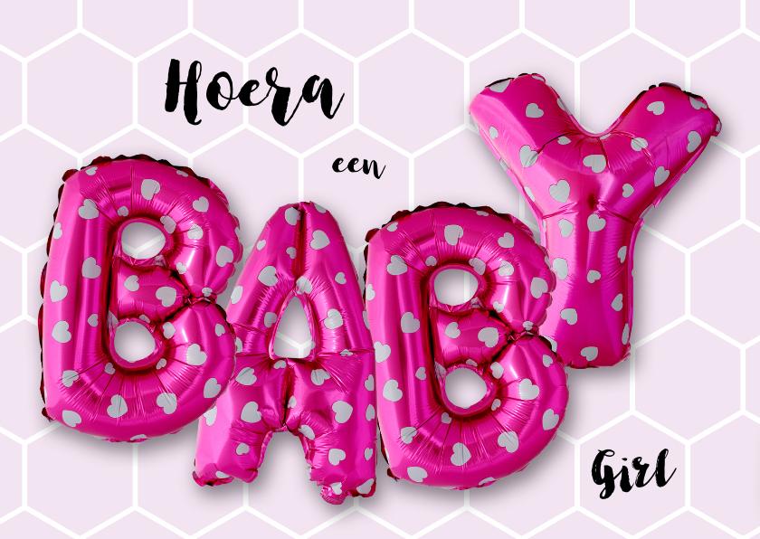 Felicitatiekaarten - Gefeliciteerd baby ballonnen roze