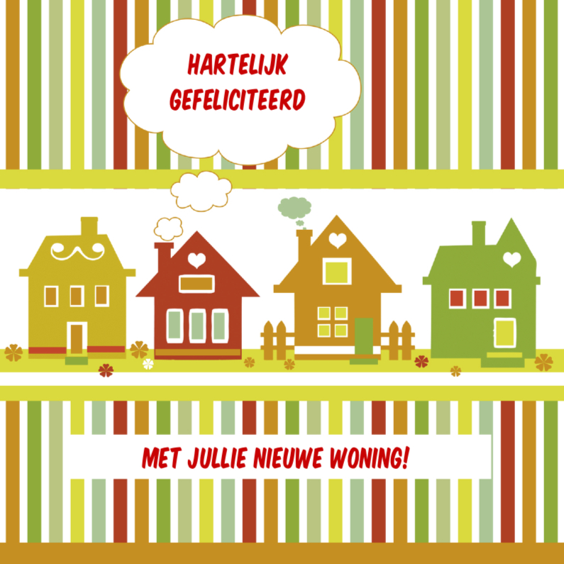 Felicitatiekaarten - Gefeliciteerd gekleurde huisjes
