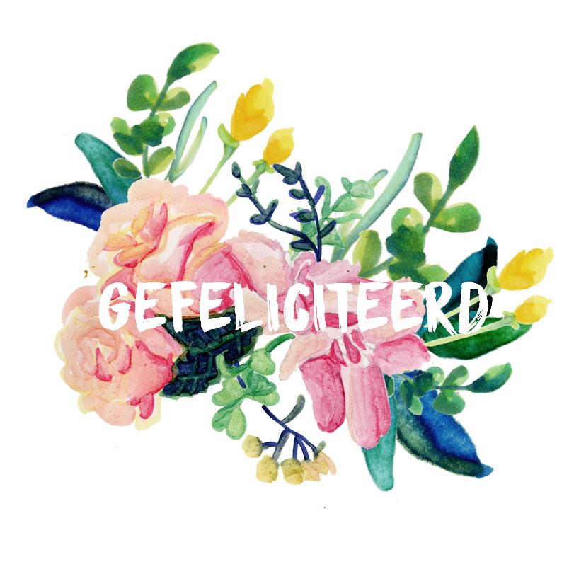 Felicitatiekaarten - 'Gefeliciteerd'kaart geschreven in bloemen