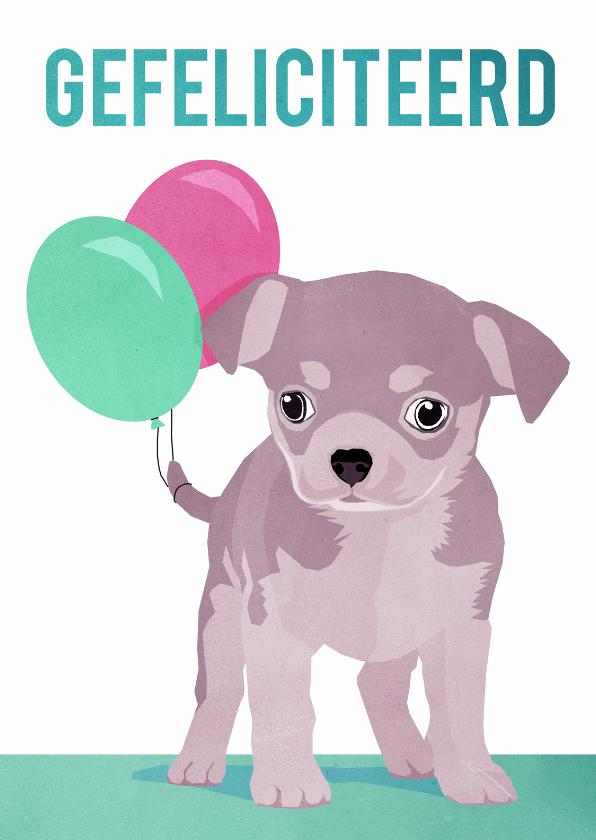 Felicitatiekaarten - Gefeliciteerd - met puppy