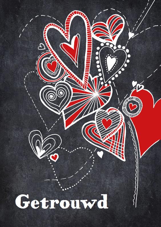 Felicitatiekaarten - Getrouwd krijt hartjes