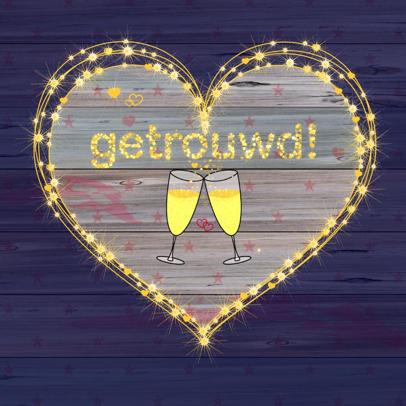 Felicitatiekaarten - GETROUWD sterren champagne bubbels