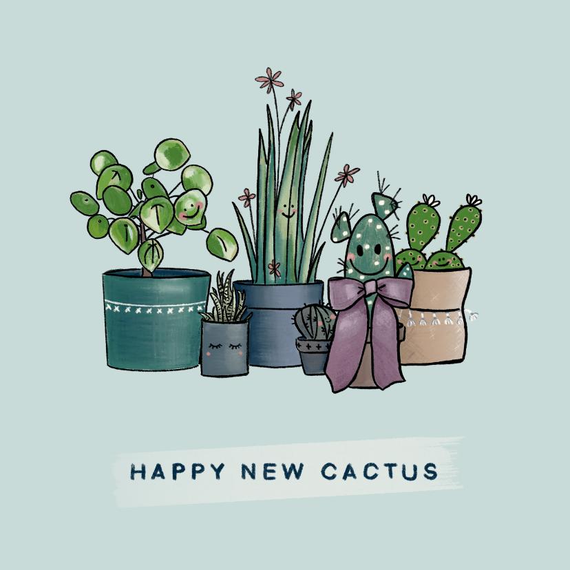 Felicitatiekaarten - Gezellige felicitatiekaart met allemaal cactussen op een rij