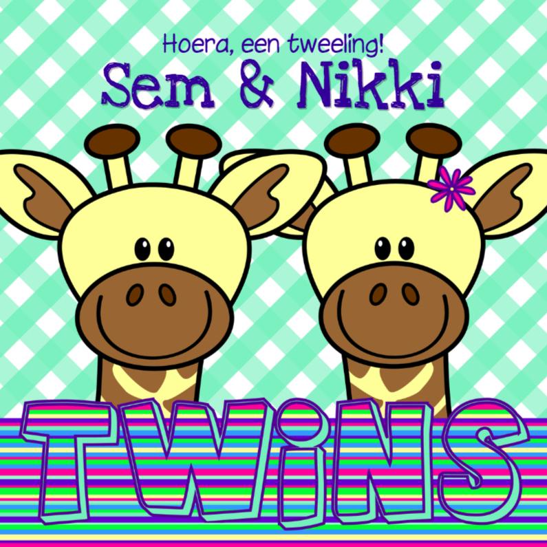 Felicitatiekaarten - Girafjes 2ling jongen en meisje