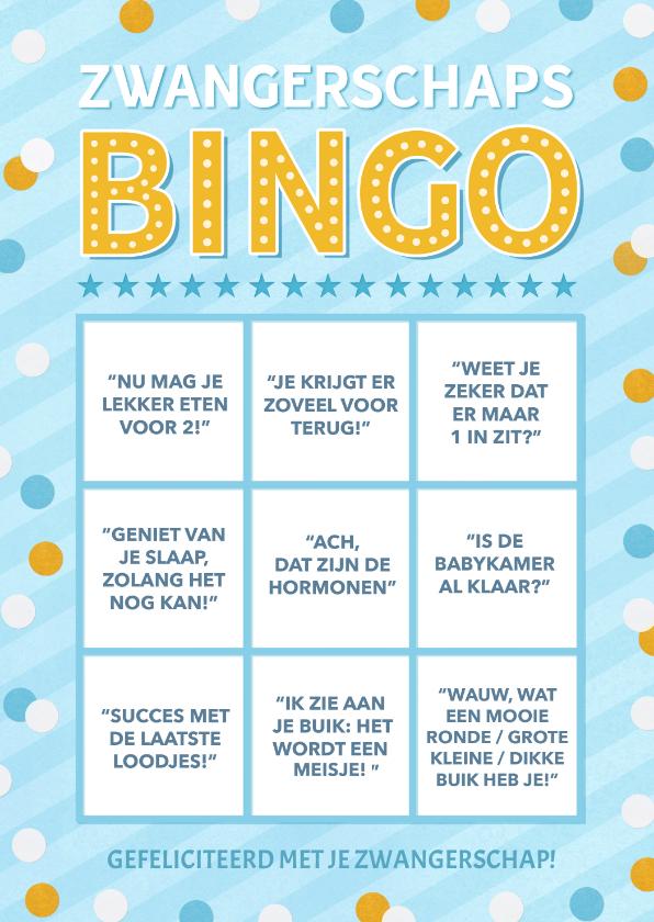 Felicitatiekaarten - Grappige zwangerschaps felicitatiekaart - bullshit bingo